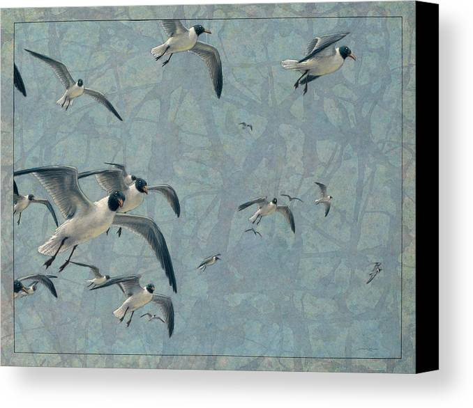 Gulls Canvas Print featuring the painting Gulls by James W Johnson
