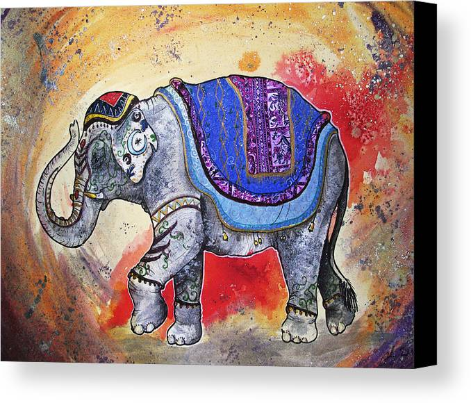 Indian Canvas Print featuring the painting Haathi by Sydney Gregory