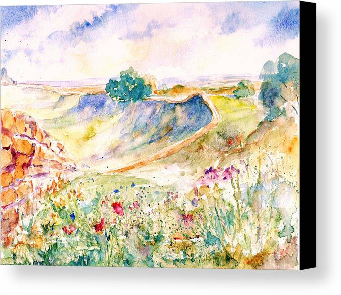 Landscape Canvas Print featuring the painting Hadrian's Wall by Susan Ryder