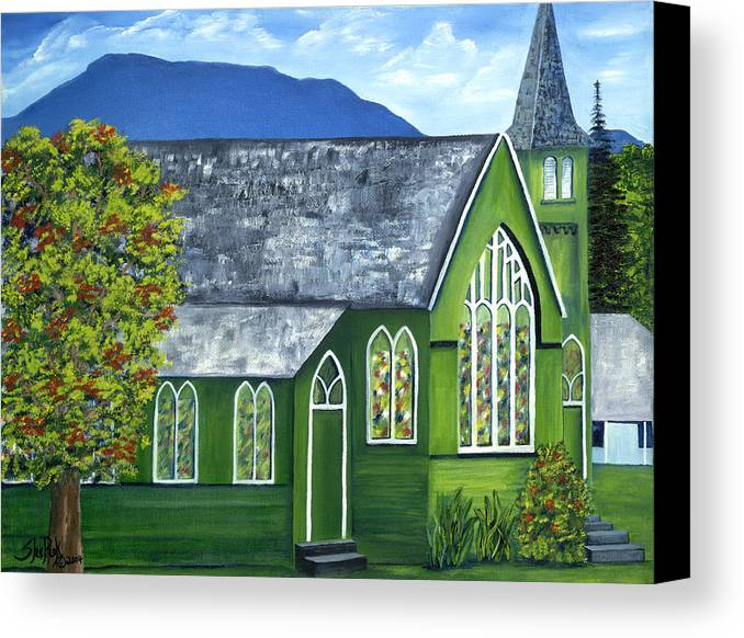 Landscape Canvas Print featuring the painting Hanalei Church by SheRok Williams