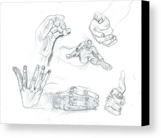 Canvas Print featuring the drawing Hands by Joseph Arico