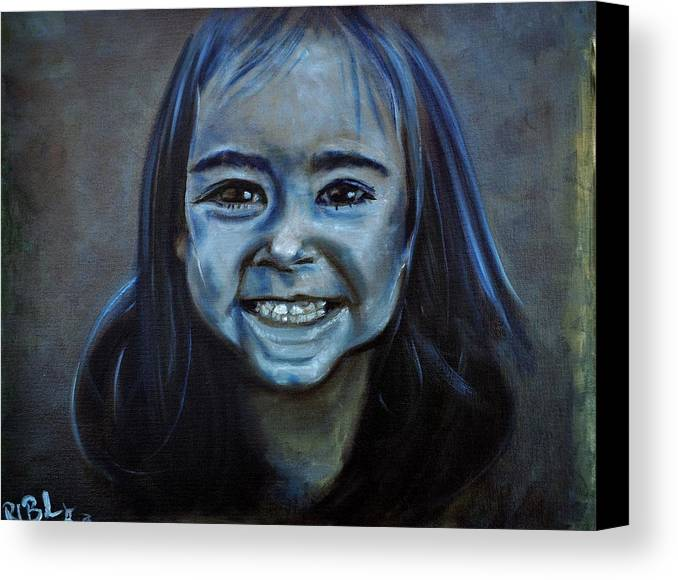 Granddaughter Canvas Print featuring the painting Hannah by Ruben Barbosa