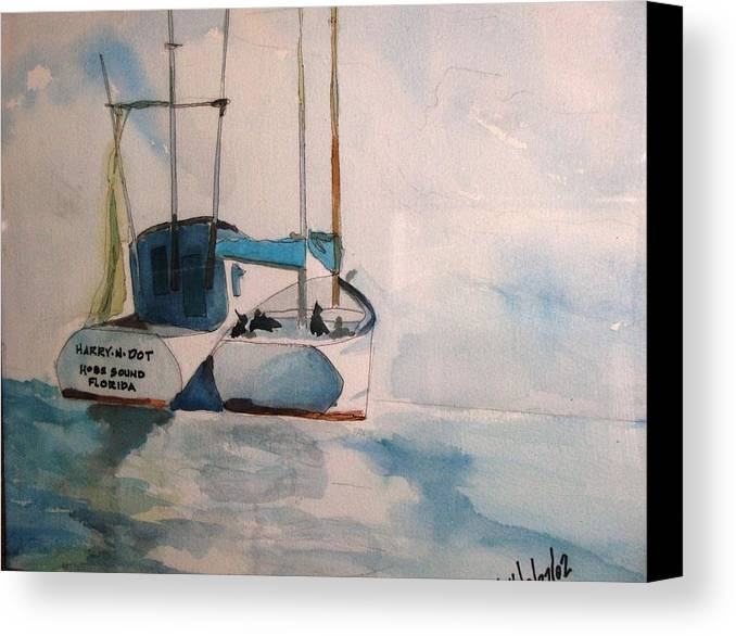 Boats Canvas Print featuring the painting Harry- N -dot by Meredith Jones