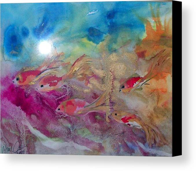 Fish Canvas Print featuring the painting Hide And Seek by Yael Eylat-Tanaka