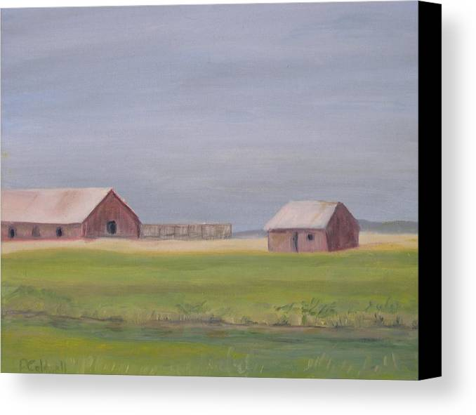 Landscape Plains Barn Canvas Print featuring the painting High Plains by Patricia Caldwell