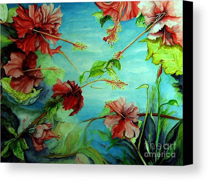 Red Canvas Print featuring the painting Hiroko's Hibiscus 4 by Rachel Lowry
