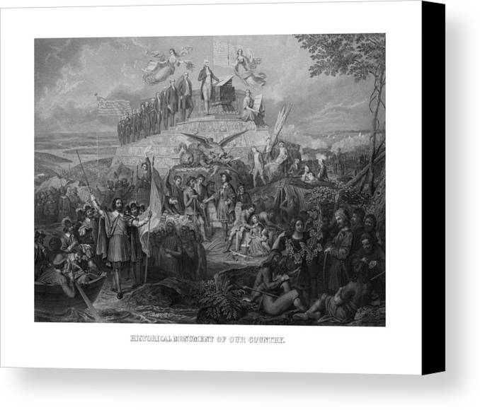 Us Presidents Canvas Print featuring the drawing Historical Monument Of Our Country by War Is Hell Store