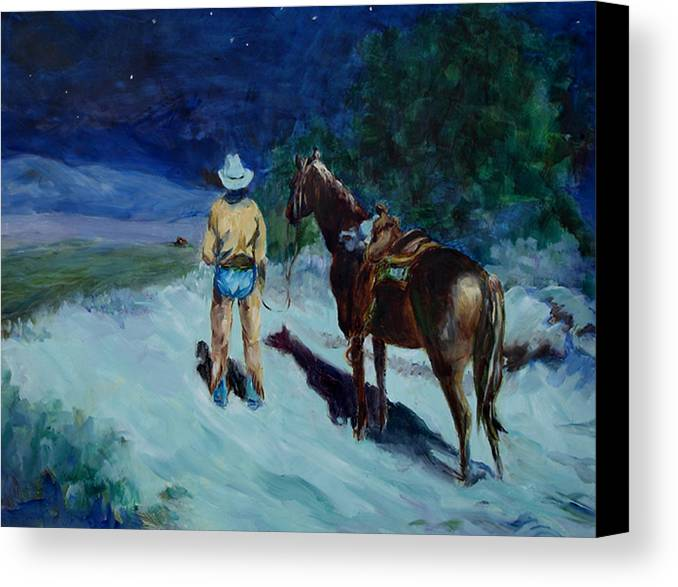 Western Canvas Print featuring the painting Home At Last by Joanne Massingale