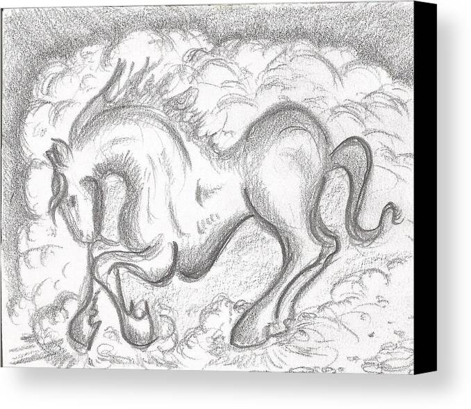 Horse Canvas Print featuring the drawing Horse by Gabriel Coelho