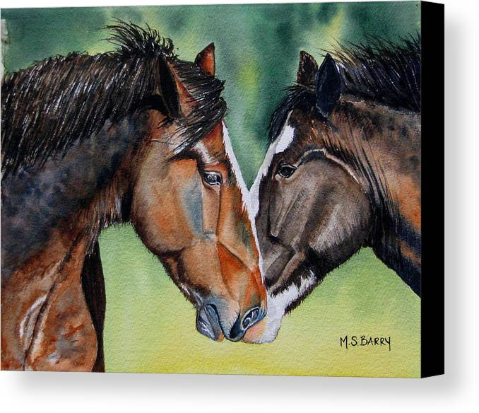 Two Horses Canvas Print featuring the painting Horsing Around by Maria Barry