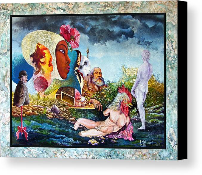 Surrealism Canvas Print featuring the mixed media Hour Of The Cock by Otto Rapp