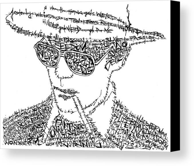Hunter Thompson Canvas Print featuring the drawing Hunter S. Thompson Black And White Word Portrait by Kato Smock