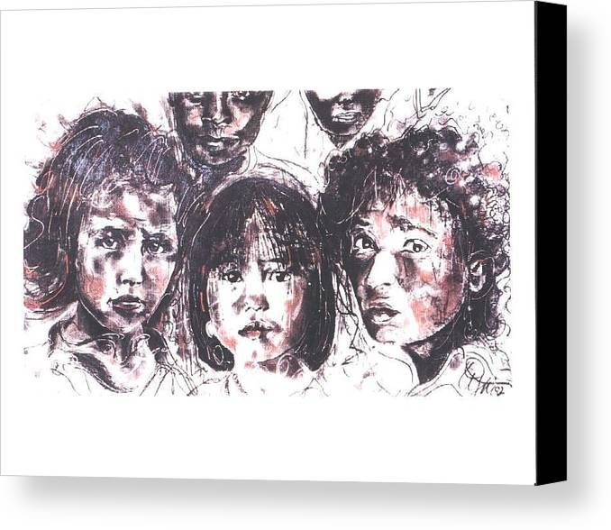 Children Canvas Print featuring the drawing I See The Future... by Lynn Gray