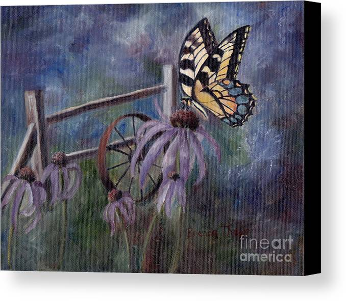 Butterfly Canvas Print featuring the painting In The Garden by Brenda Thour
