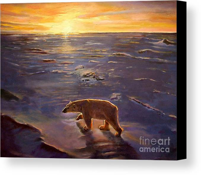 Polar Bear; Arctic; North Pole; Sunset; Setting Sun; Global Warming; Climate Change; Environmental; Melting Ice; Solitary; Deserted; Bear; Ice Canvas Print featuring the painting In The Wilderness by Kevin Parrish