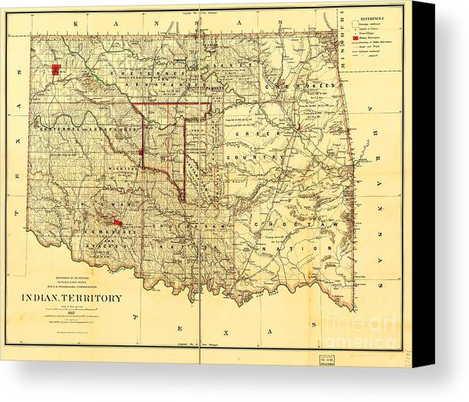 Reproduction Canvas Print featuring the drawing Indian Territory by Pg Reproductions