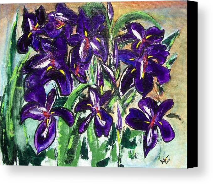 Iris Canvas Print featuring the painting Iris by Valerie Wolf