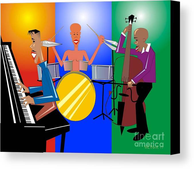 Jazz Canvas Print featuring the digital art Jazz Trio by Walter Oliver Neal