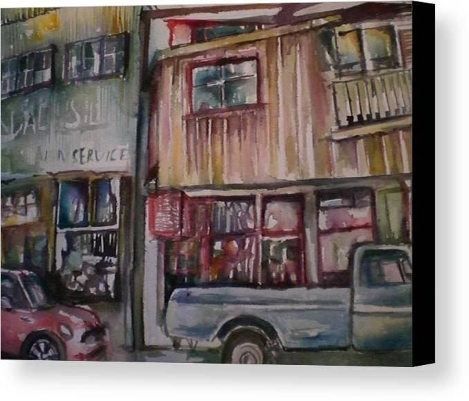 Buildings Canvas Print featuring the painting Jerome by Aleksandra Buha