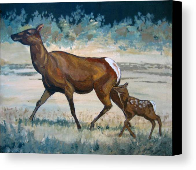 Nature Canvas Print featuring the painting Keeping Up With Mama by Diane Ellingham