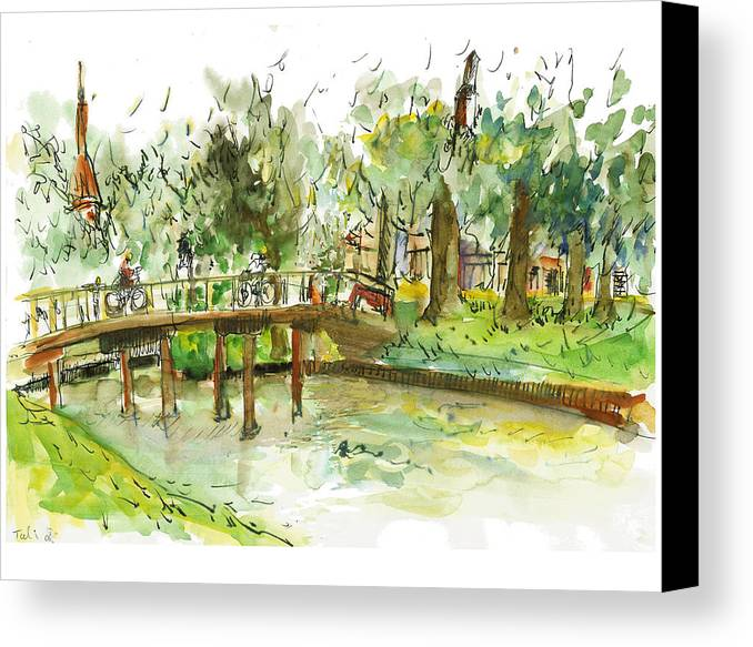 Zwolle Canvas Print featuring the painting Kerekbrugje by Tali Farchi