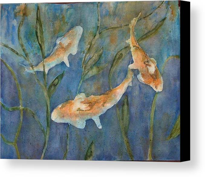 Fish Canvas Print featuring the painting Koi by Diane Ziemski
