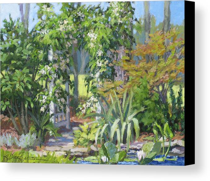 Lush Garden Arbor Canvas Print featuring the painting Labor Of Love by L Diane Johnson