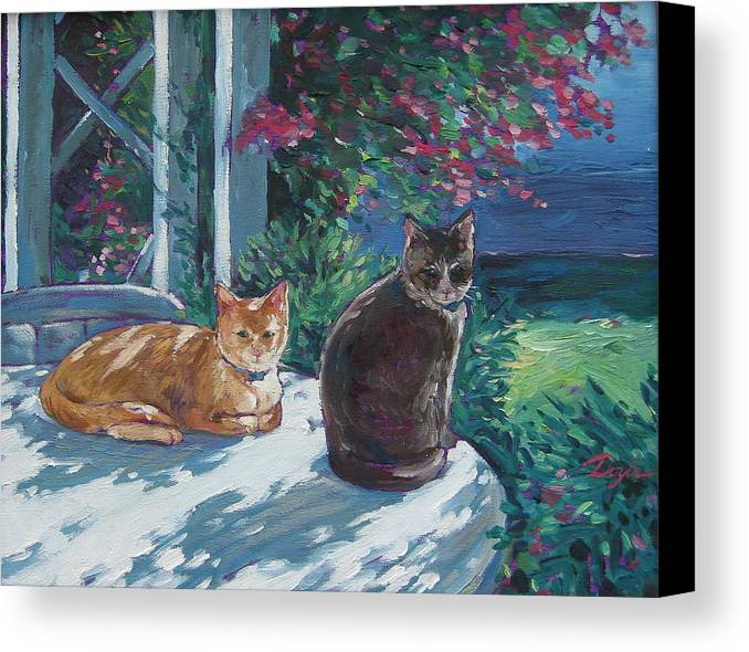 Pet Portraits Canvas Print featuring the painting Lady And Lucy by Karen Doyle