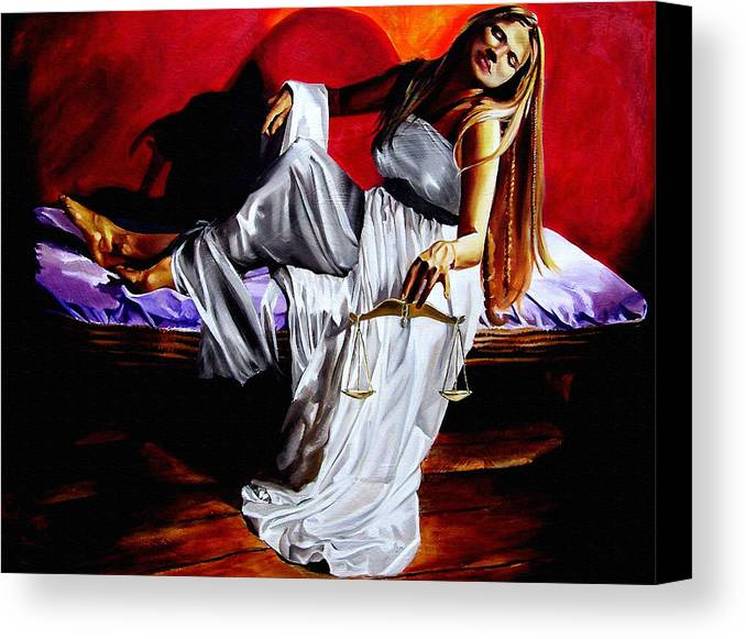Law Art Canvas Print featuring the painting Lady Justice by Laura Pierre-Louis