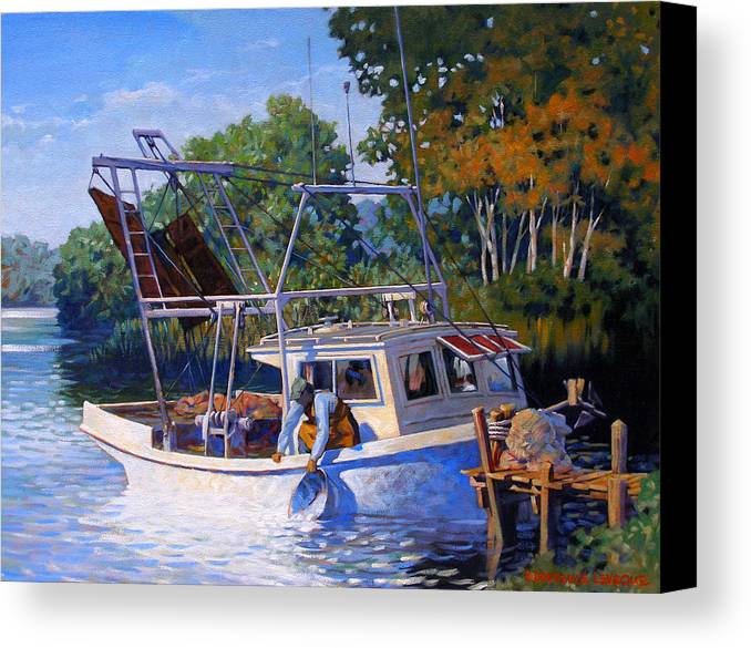 River Canvas Print featuring the painting Lafitte Skiff by Kevin Lawrence Leveque