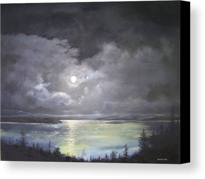 Moonscape Canvas Print featuring the painting Lake Shore Moonscape by Ken Ahlering