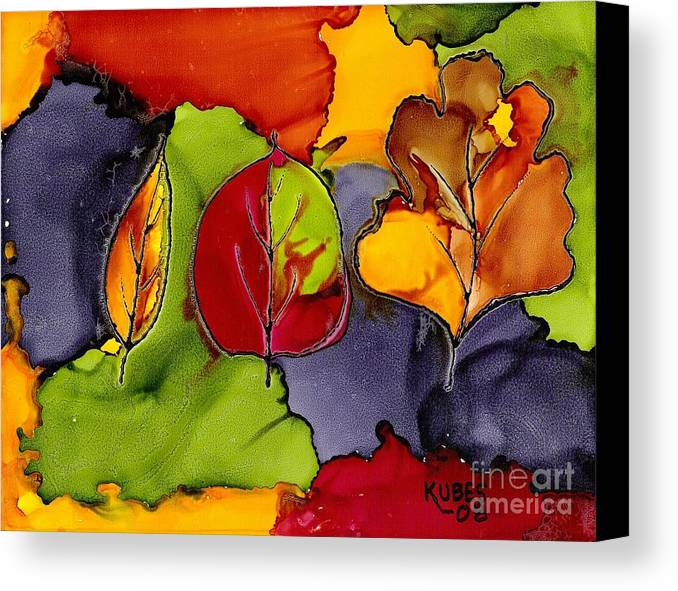 Leaf Canvas Print featuring the painting Leaf Brilliance by Susan Kubes