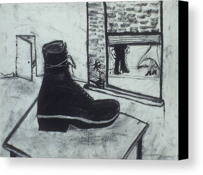 Charcoal Canvas Print featuring the drawing Left Behind by Jamie Wooten