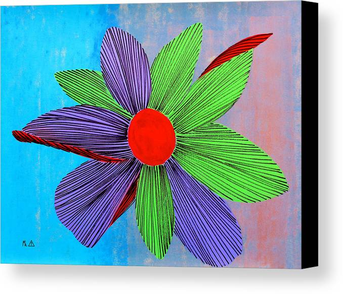 Flowers Canvas Print featuring the painting Lib - 165 by Artist Singh