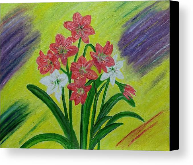 Red Lilies Canvas Print featuring the painting Lilies by Suma GV