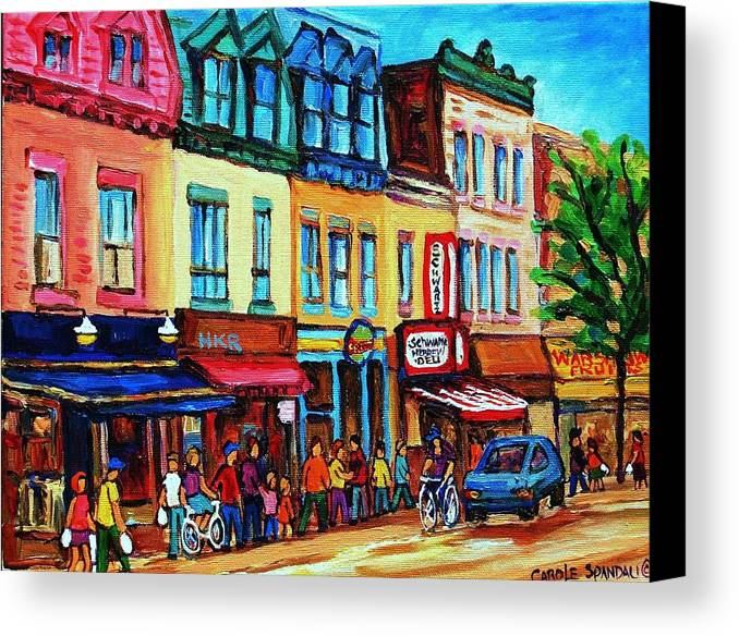 Cityscape Canvas Print featuring the painting Lineup For Smoked Meat Sandwiches by Carole Spandau