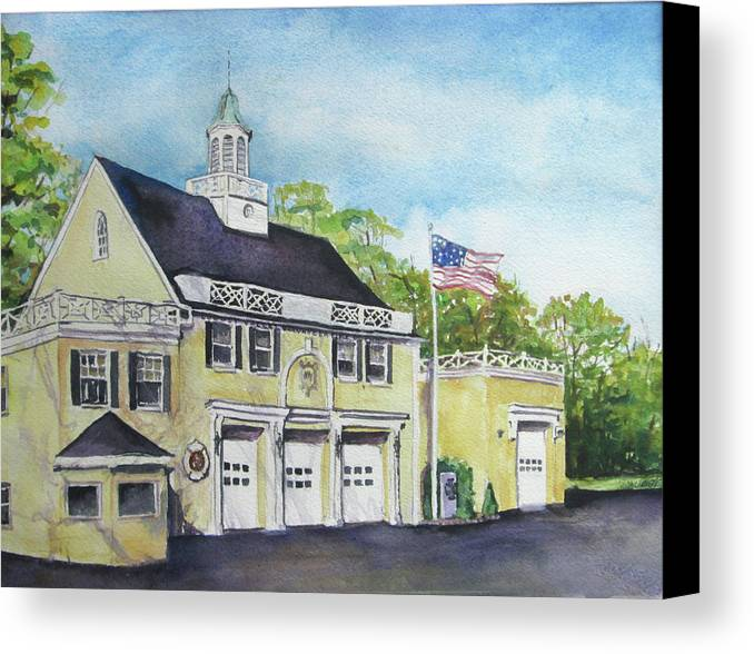 Locust Valley Canvas Print featuring the painting Locust Valley Firehouse by Susan Herbst