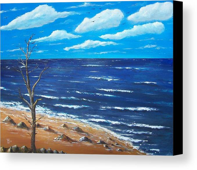 Seascape Canvas Print featuring the painting Lone Tree Seascape by Tony Rodriguez