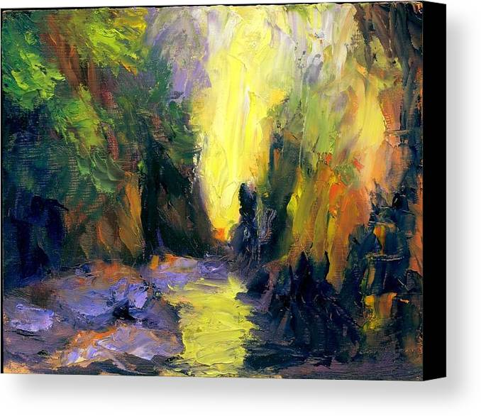 Landscape Canvas Print featuring the painting Lost Creek by Gail Kirtz