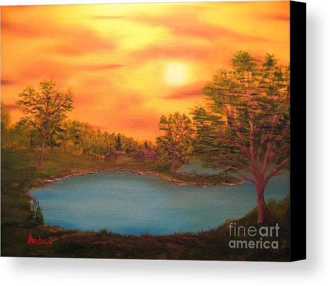 Landscape Canvas Print featuring the painting Lost Lake by Todd Androy