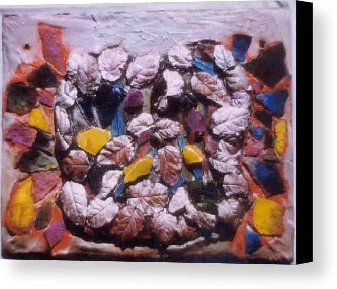 Broken Glass Cement Canvas Print featuring the relief Lost Treasures.. by Rooma Mehra