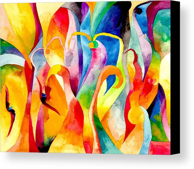 Swans Canvas Print featuring the painting Magical Swans by Peter Shor