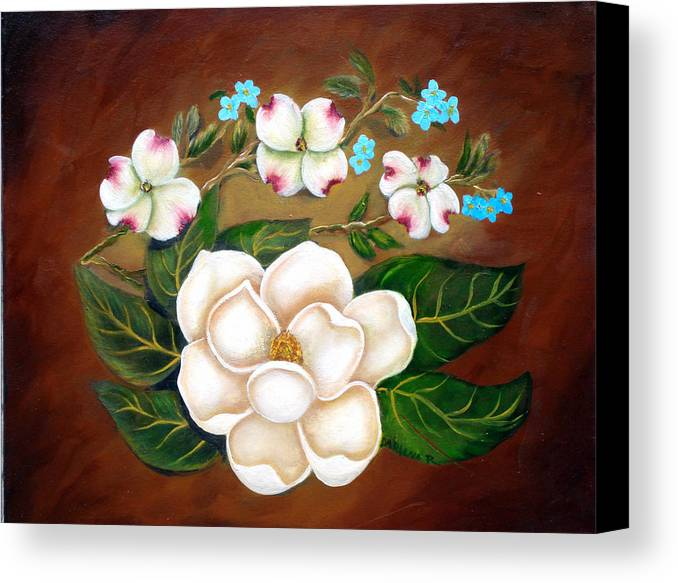 Brown Canvas Print featuring the painting Magnolia And Dogwood by Darlene Green