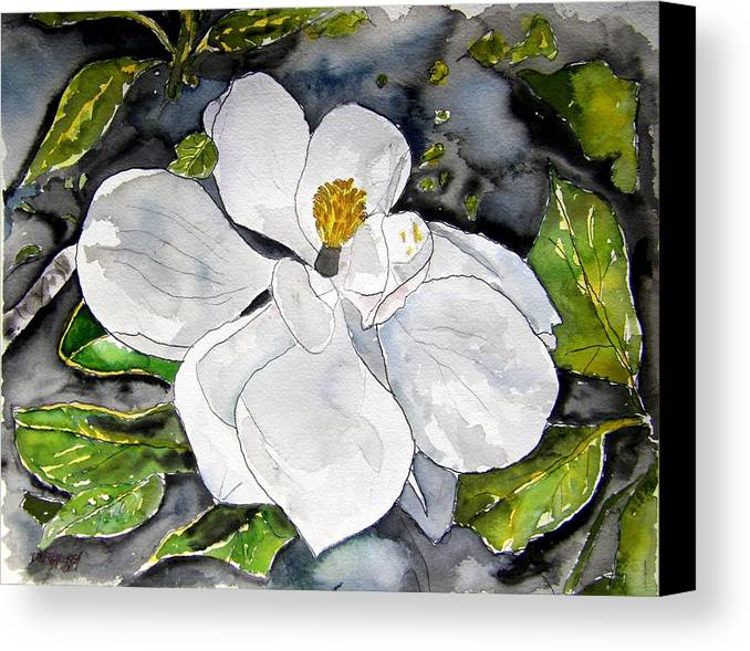 Magnolia Canvas Print featuring the painting Magnolia Tree Flower by Derek Mccrea