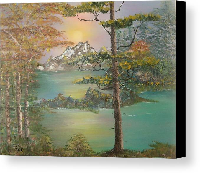 Landscape Canvas Print featuring the painting Majestic Cove by Mikki Alhart