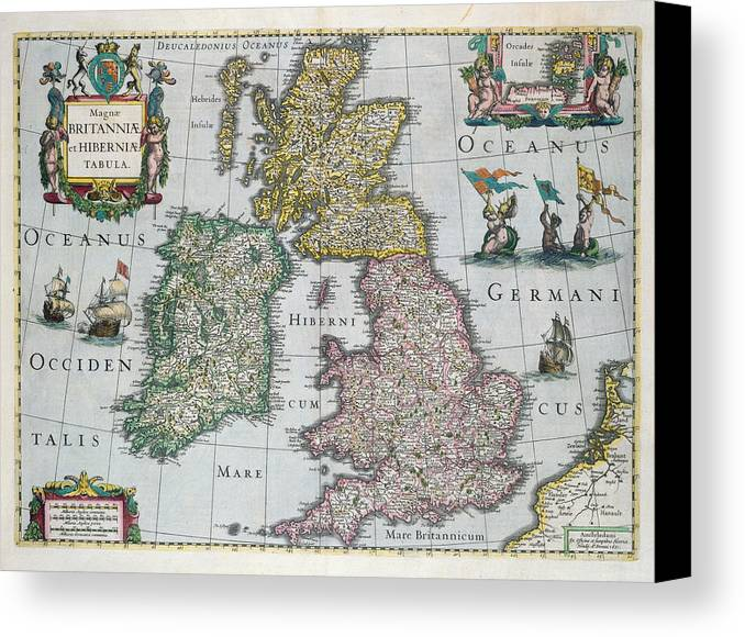 Map Canvas Print featuring the drawing Map Of Britain by English school
