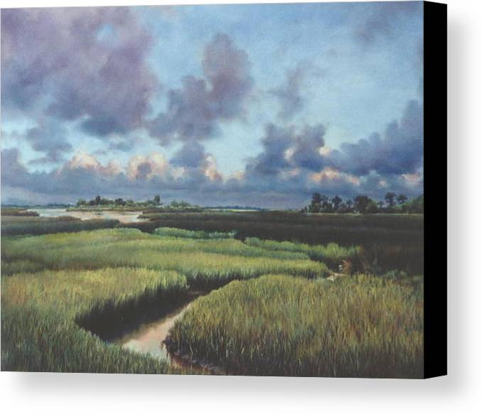 Water Canvas Print featuring the painting Marsh Dawn by Marion Hylton