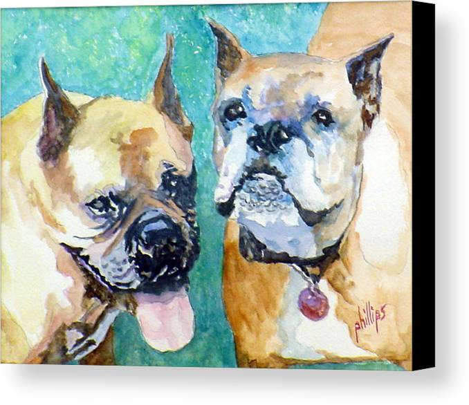 Boxers Canvas Print featuring the painting Mojo And Tazmo by Jim Phillips