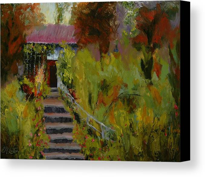 Landscape (framed) Canvas Print featuring the painting Monet's Garden Cottage by Colleen Murphy