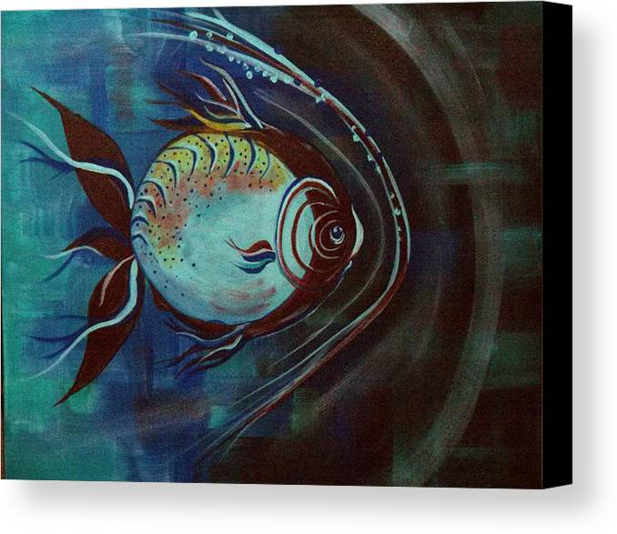 30 Inch Abstract Acrylic Aquatic Canvas Print featuring the painting Moonie by Linda Powell